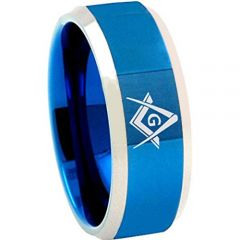 *COI Titanium Blue Silver Masonic Beveled Edges Ring - 4685