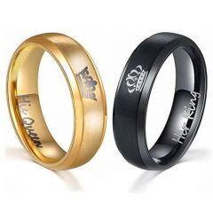 *COI Titanium Black/Gold Tone King Queen Crown Ring-JT4020