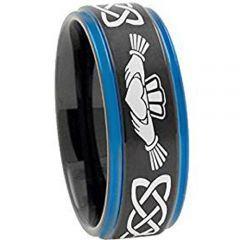 *COI Titanium Black Blue Mo Anam Cara Celtic Step Edges Ring-4722