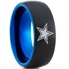 COI Titanium Black Blue Dome Court Star Ring - 4733