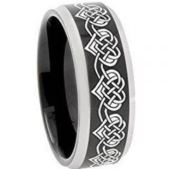 COI Titanium Black Silver Heart Beveled Edges Ring-4751