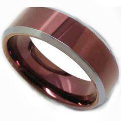 COI Titanium Purple Red Beveled Edges Ring-5183