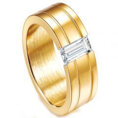 COI Gold Tone Titanium Ring With Cubic Zirconia-5230