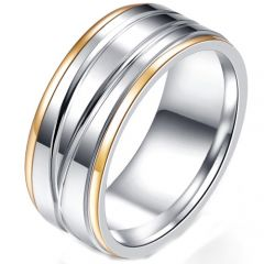 COI Titanium Gold Tone Silver Step Edges Ring-5231