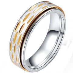 COI Titanium Gold Tone Silver Step Edges Ring-5232