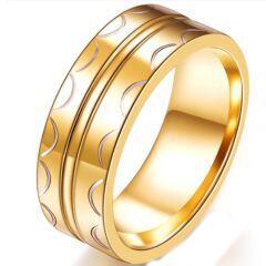 COI Gold Tone Titanium Center Groove Ring-5236