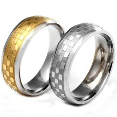 COI Titanium Silver Gold Tone Checkered Flag Ring-5239