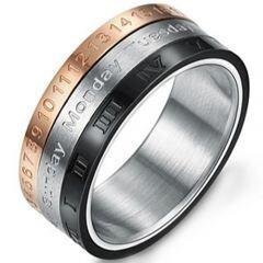 COI Titanium Rose Black Silver Roman Numerals Ring-5246