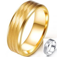 COI Titanium Silver/Gold Tone Wedding Band Ring-5255