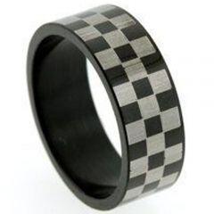 *COI Titanium Black Silver Checkered Flag Pipe Cut Flat Ring-5256