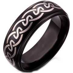 COI Black Titanium Celtic Step Edges Ring - 5258