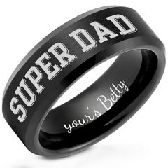 COI Black Titanium Super Dad Beveled Edges Ring-5259