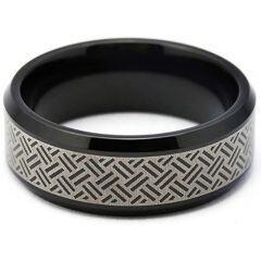 COI Black Titanium Laser Pattern Beveled Edges Ring-5260