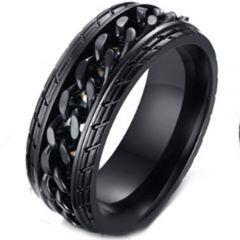 **COI Titanium Black/Gold Tone/Silver Tire Tread Ring-5262