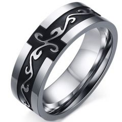 COI Titanium Black Silver Celtic Ring-5272