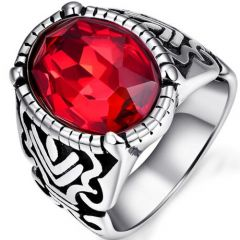 COI Titanium Ring With Created Red Ruby-5274