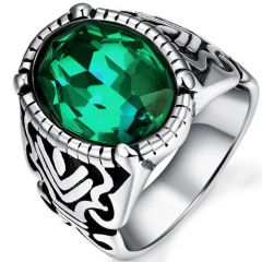 COI Titanium Ring With Created Green Emerald-5275