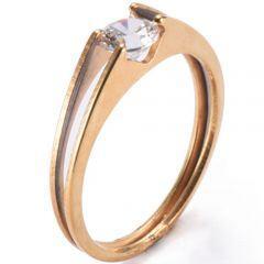 COI Rose Titanium Solitaire Ring With Cubic Zirconia-5279
