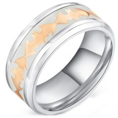COI Titanium Rose Tone Batman Ring With White Ceramic-5286