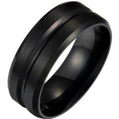 COI Black Titanium Center Groove Beveled Edges Ring-5288