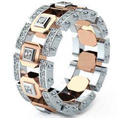 COI Titanium Rose Silver Ring With Cubic Zirconia-5291