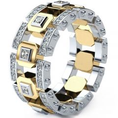 COI Titanium Gold Tone Silver Ring With Cubic Zirconia-5292