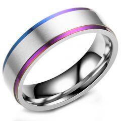 COI Titanium Rainbow Pride Step Edges Ring-5293