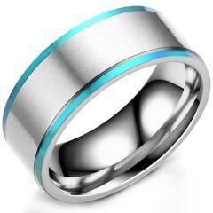 COI Titanium Blue Silver Step Edges Ring-5294