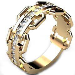 COI Gold Tone Titanium Ring With Cubic Zirconia-5301