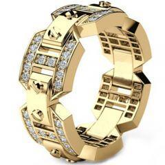 COI Gold Tone Titanium Ring With Cubic Zirconia-5302