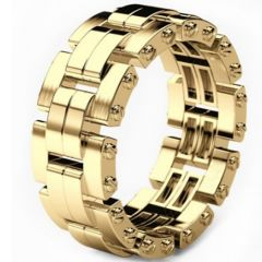 COI Gold Tone Titanium Wedding Band Ring-5305