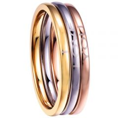 COI Titanium Rose Gold Tone Silver I Love You Dome Court Ring(A Set of 3 Rings)-5306