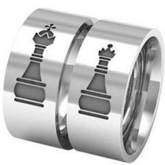 COI Titanium King Queen Chess Pipe Cut Flat Ring-5329