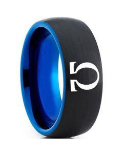 COI Titanium Black Blue Gold of War Omega Dome Court Ring-5330