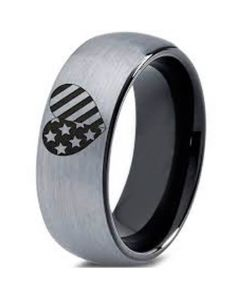 COI Titanium Black Silver American Heart Dome Court Ring-5332