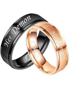 COI Titanium Black/Rose Her Damon His Angel Step Edges Ring-5335