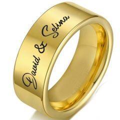 COI Gold Tone Titanium Pipe Cut Flat Ring With Custom Names Engraving-5336