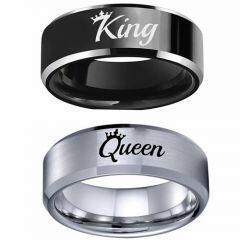 COI Titanium Black/Silver King Queen Crown Beveled Edges Ring-5337