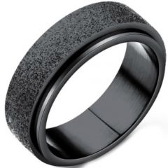 COI Black Titanium Sandblasted Step Edges Ring-5341