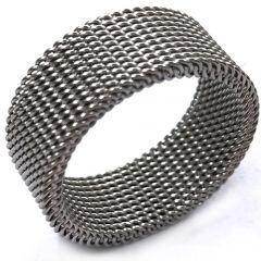 COI Titanium Silver/Gold Tone/Black Mesh Ring-5351