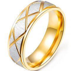 COI Titanium Gold Tone Silver Ring-5352