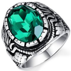 COI Titanium Ring With Created Green Emerald-5358