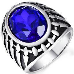 COI Titanium Ring With Created Blue Sapphire-5371