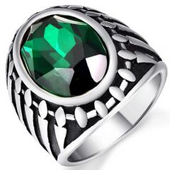 COI Titanium Ring With Created Green Emerald-5372