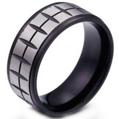 COI Titanium Black Silver Grooves Step Edges Ring-5374