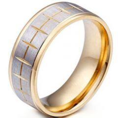 COI Titanium Gold Tone Silver Grooves Step Edges Ring-5375