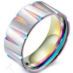 COI Titanium Rainbow Pride Grooves Ring-5376
