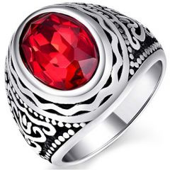 COI Titanium Ring With Created Red Ruby-5378