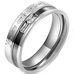 COI Titanium Black Silver You are my only love Ring With Cubic Zirconia-5391