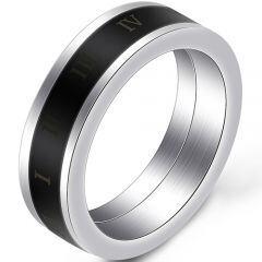 COI Titanium Black Silver Ring With Roman Numerals-5395